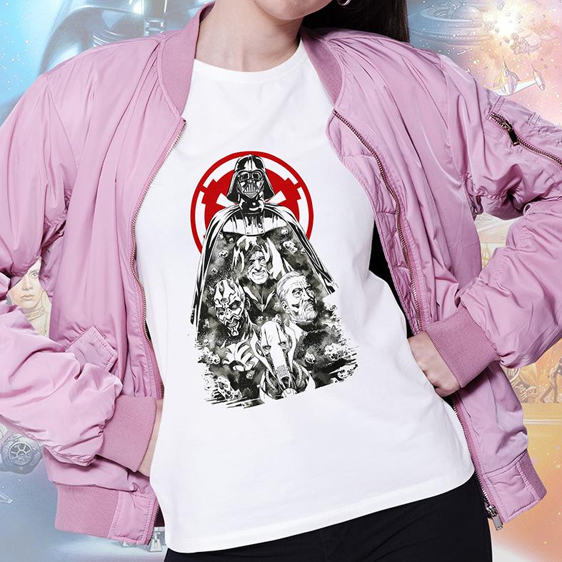 Camiseta Feminina Unissex Darth Vader Darth Maul Imperador Palpatine Obi-Wan Kenobi Personagens Star Wars (Branca) - EV