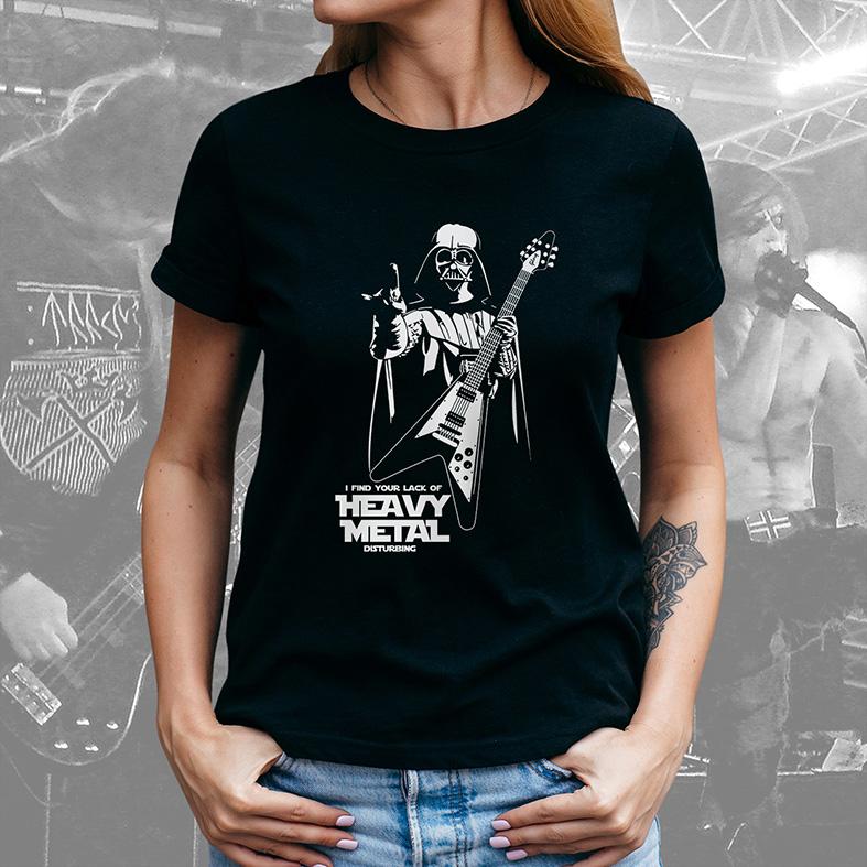 Camiseta Feminina Unissex Darth Vader Guitar I Find Your Lack Of Heavy Metal Disturbing: Star Wars (Preta) - EV