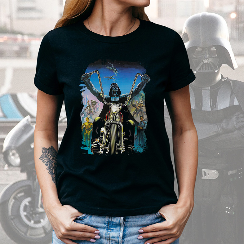 Camiseta Feminina Unissex Darth Vader Motocicleta Harley Davidson Motorcycle: Star Wars (Preta) - EV