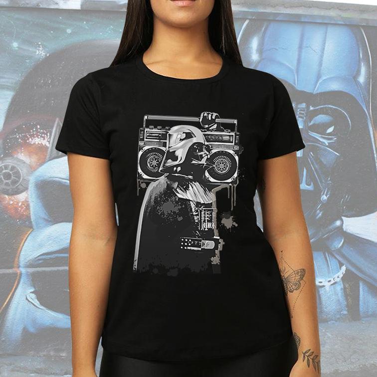 Camiseta Feminina Unissex Darth Vader Street Art Graffiti Music: Star Wars (Preta) - EV