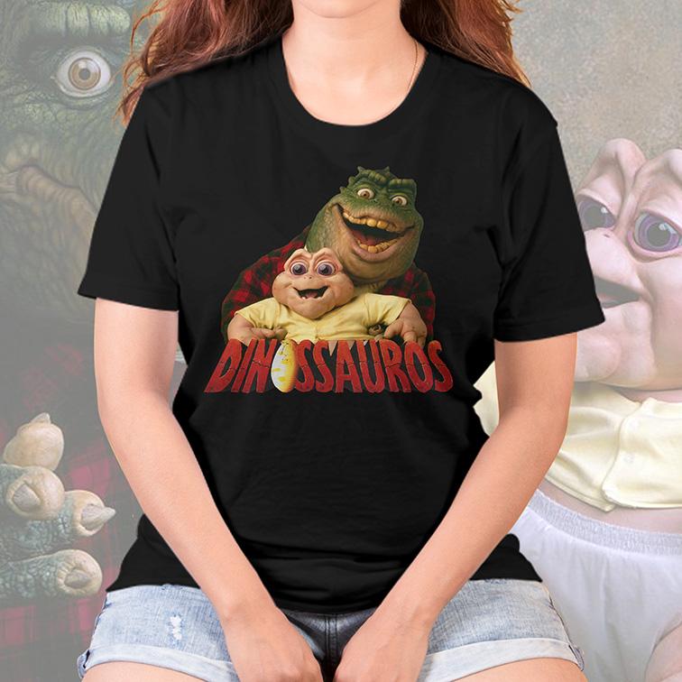 Camiseta Feminina Unissex Dino e Baby Dinosaurs: Família Dinossauro (Preta) - EV