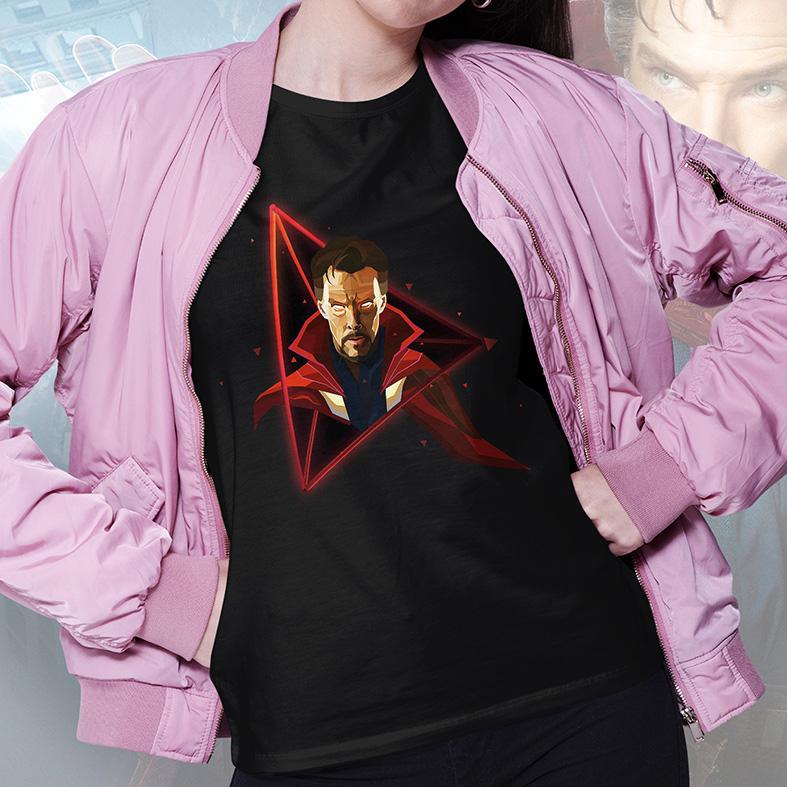 Camiseta Feminina Unissex Doctor Strange Doutor Estranho Herói Disney+ (Preta) - EV