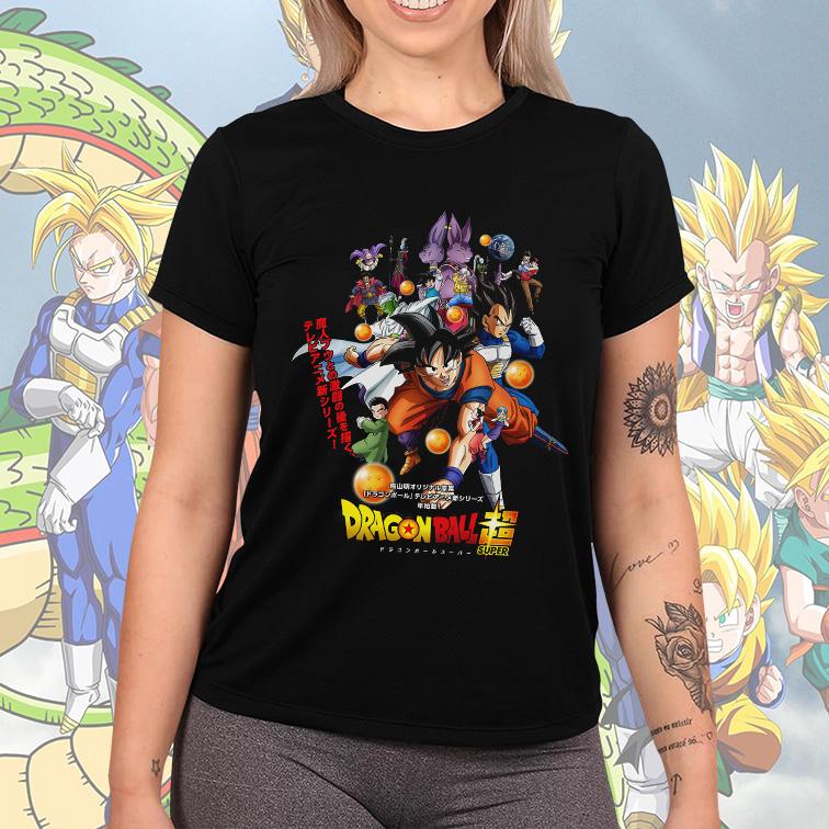 Camiseta Feminina Unissex Dragon Ball Super Personagens Esferas Do Dragão (Preta) - EV