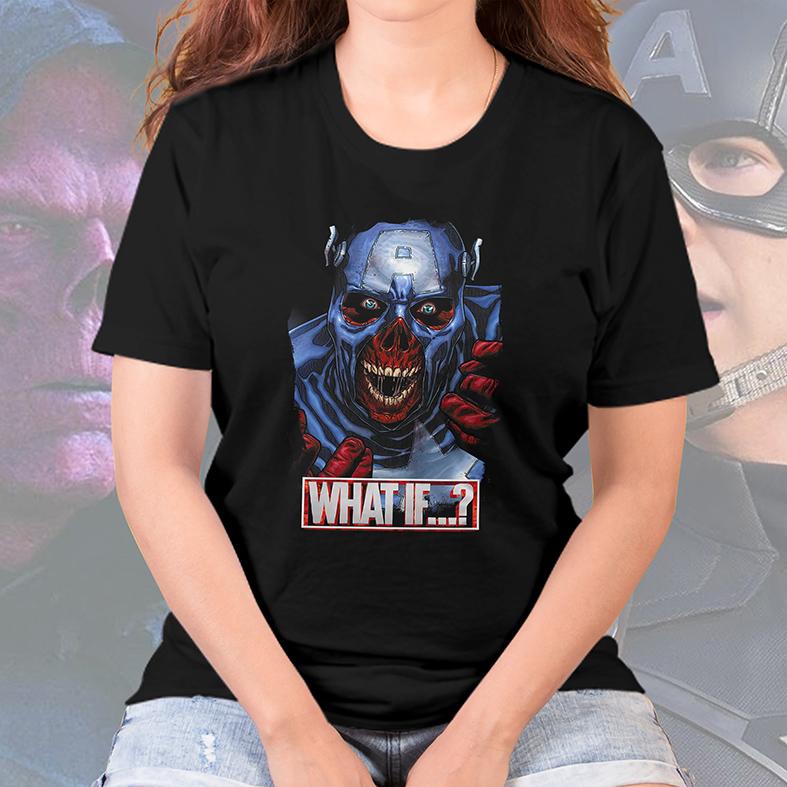 Camiseta Feminina Unissex E Se...? Capitão América Caveira Vermelha Captain America Red Skull What If...? Marvel Studios (Preta) - EV