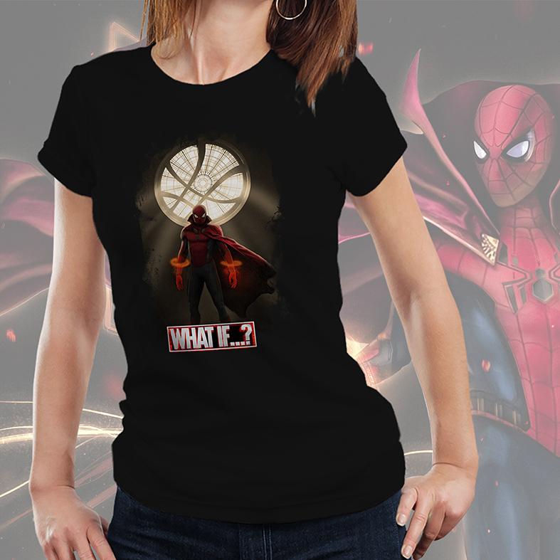 Camiseta Feminina Unissex E Se...? Homem Aranha Doutor Estranho Spider Man Doctor Strange What If...? Marvel Studios (Preta) - EV