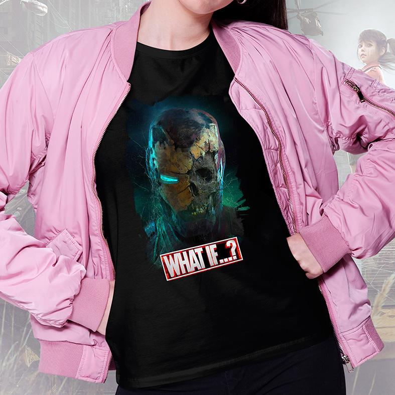 Camiseta Feminina Unissex E Se...? Homem De Ferro Zumbi Iron Man What If...? Marvel Studios (Preta) - EV