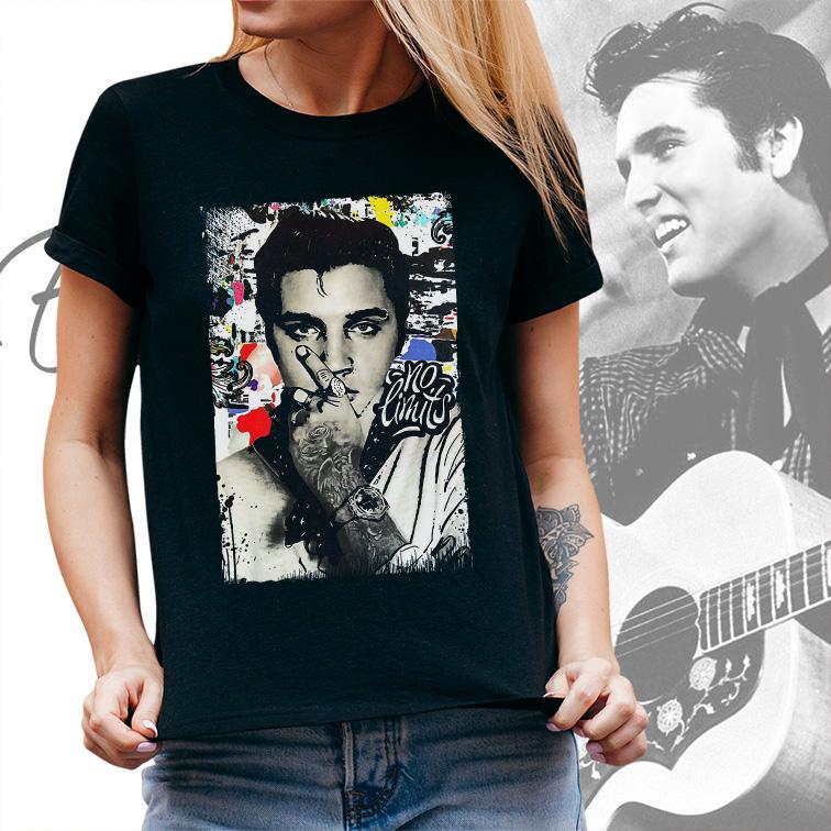 Camiseta Feminina Unissex Elvis Presley No Limits Collage (Preta) - EV
