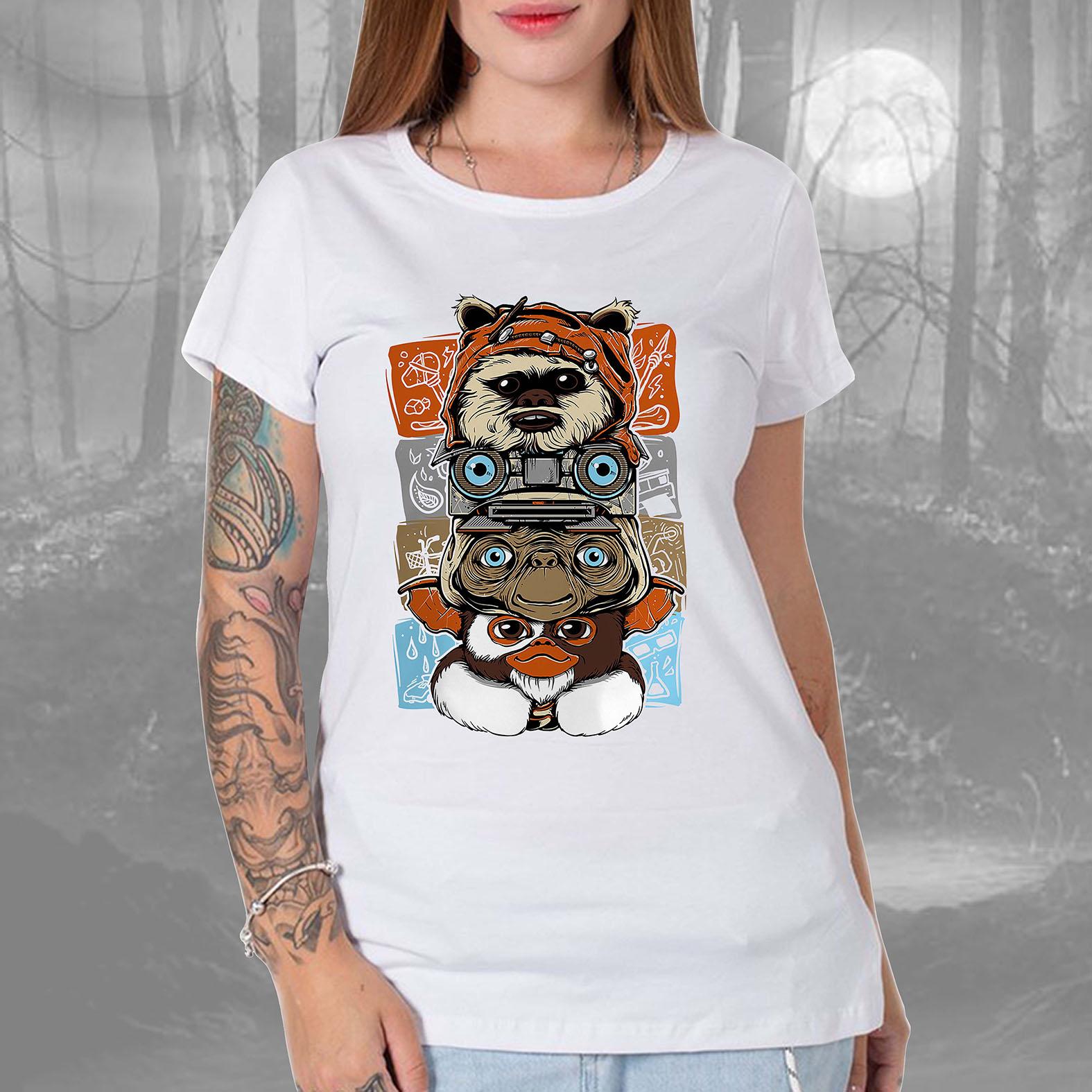 Camiseta Feminina Unissex Ewoks Johnny Five Et Extraterrestre Mogwai Gremlins Monsters Anos 80s Horror (Branca) - EV