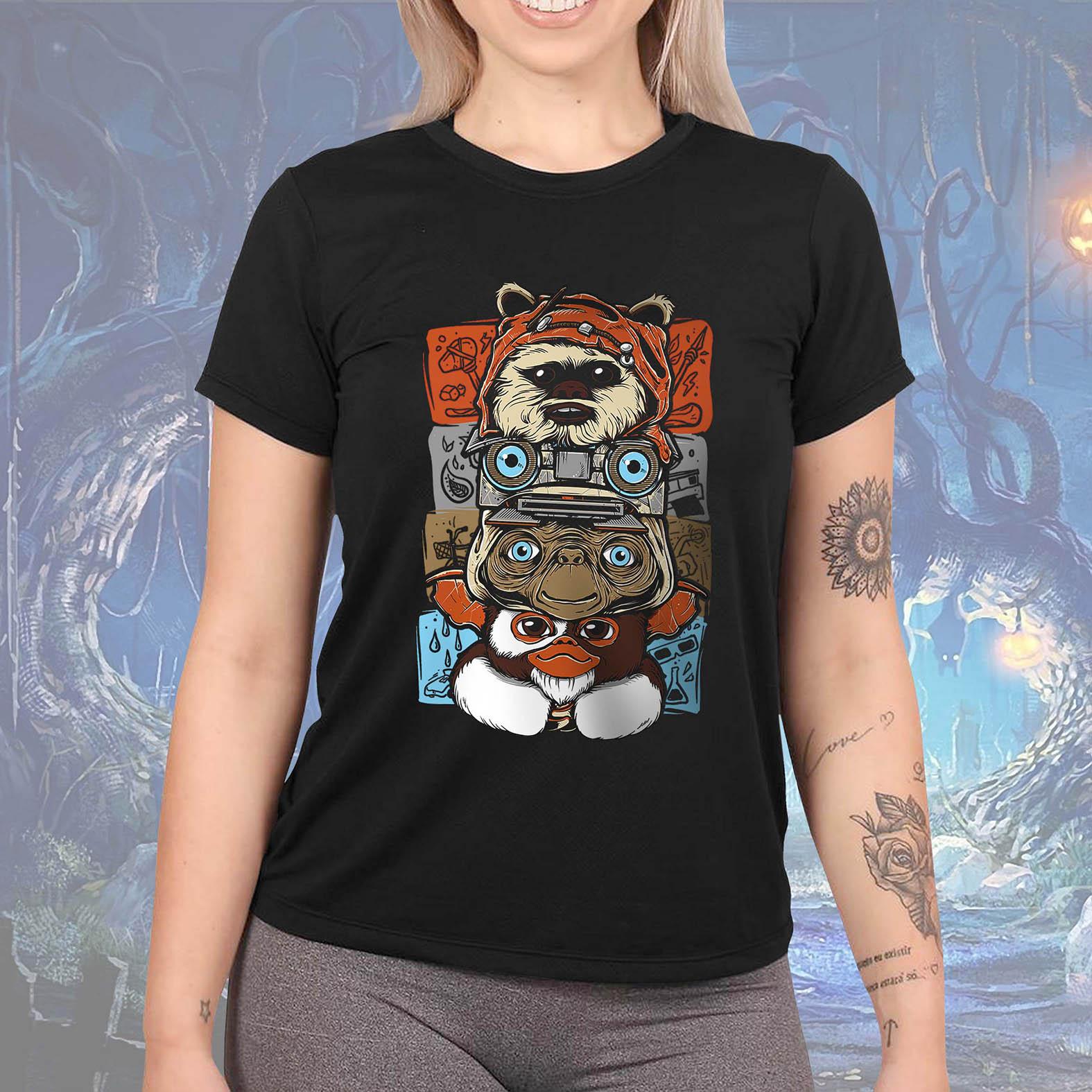 Camiseta Feminina Unissex Ewoks Johnny Five Et Extraterrestre Mogwai Gremlins Monsters Anos 80s Horror (Preta) - EV