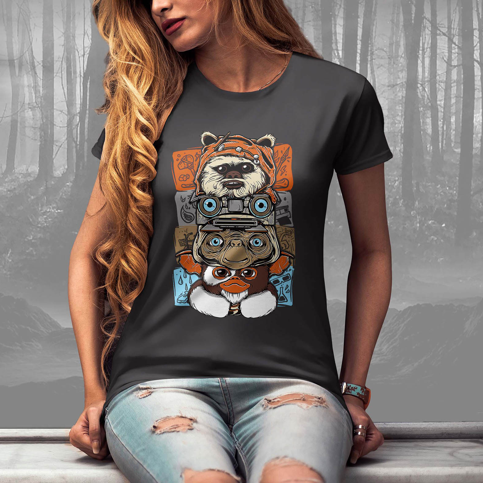 Camiseta Feminina Unissex Ewoks Johnny Five Et Extraterrestre Mogwai Gremlins Monsters Horror (Cinza Chumbo) - EV
