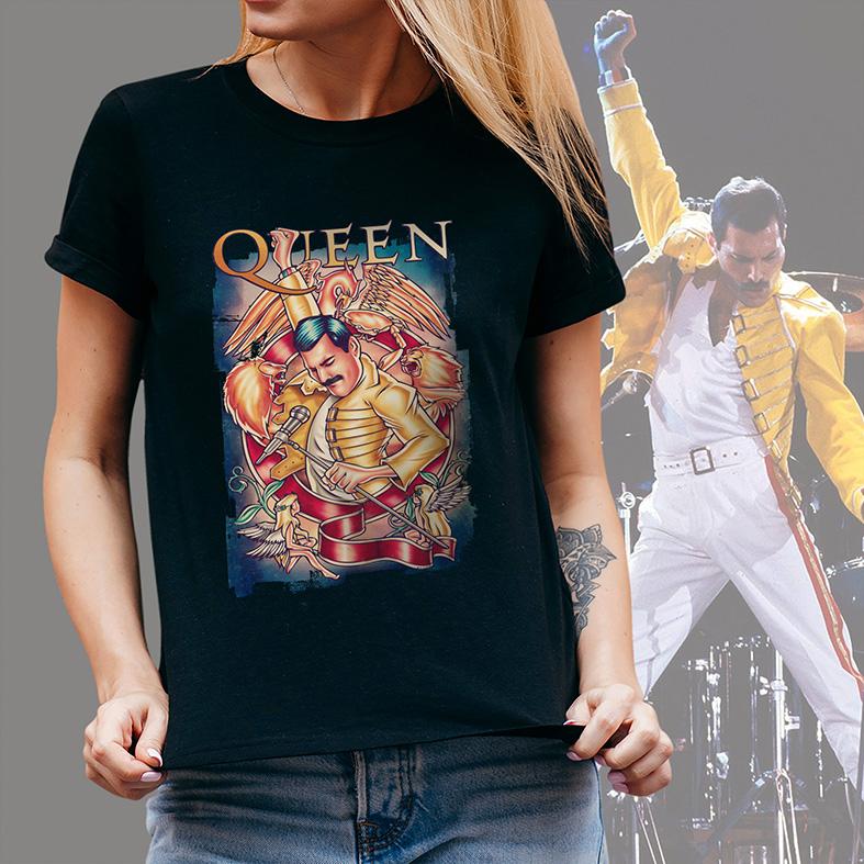 Camiseta Feminina Unissex Freddie Mercury Queen Rock Legends Poster (Preta) - EV