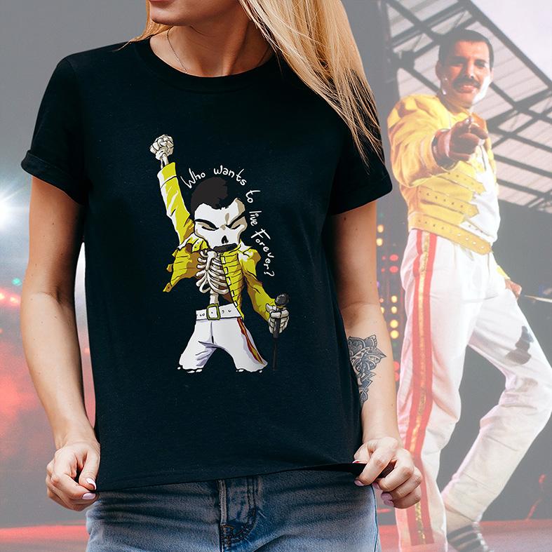 Camiseta Feminina Unissex Freddie Mercury Quem Quer Viver Para Sempre Caveira Rock Skull: Queen (Preta) - EV