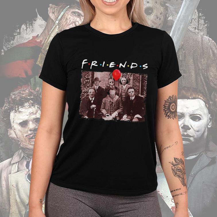 Camiseta Feminina Unissex Friends Halloween Horror Freddy Jason Saw Hannibal It Mayers (Preta) - EV