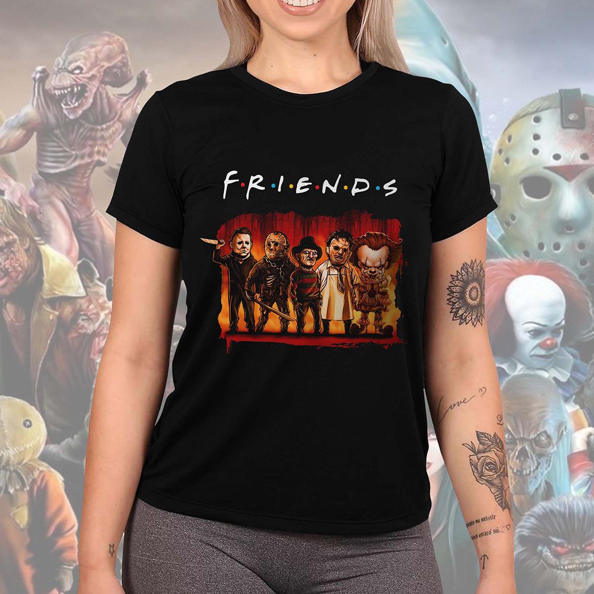 Camiseta Feminina Unissex Friends Halloween Horror Serial Killers Terror Personagens (Preta) - EV