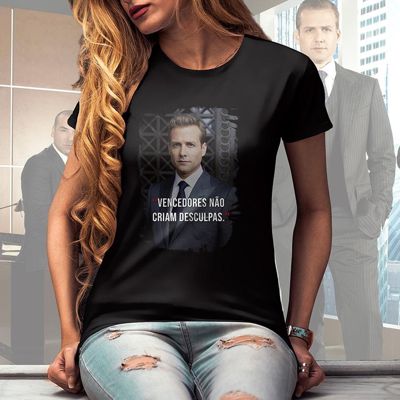 Camiseta Feminina Unissex Gabriel Macht Suits Vencedores Não Criam Desculpas (Preta) - EV