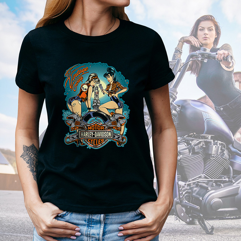 Camiseta Feminina Unissex Garagem Motor Harley Davidson Cycles Mecanica The Vintage Garage (Preta) - EV
