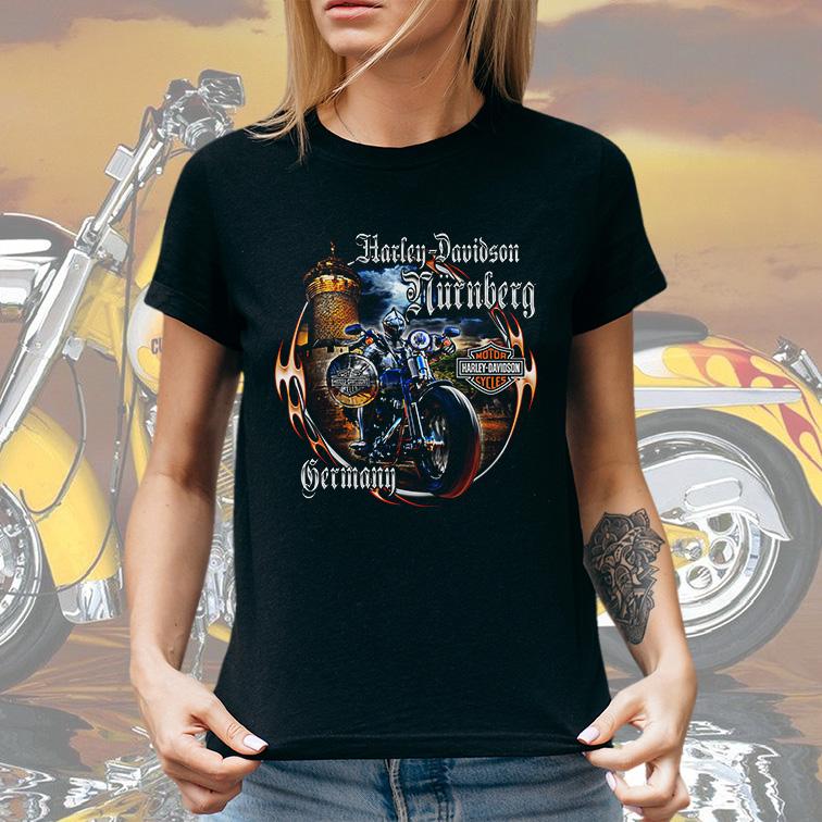 Camiseta Feminina Unissex Germany: Harley Davidson Cycles (Preta) - EV