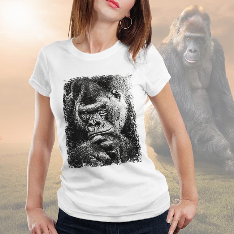 Camiseta Feminina Unissex Gorila African Animals (Branca) - EV