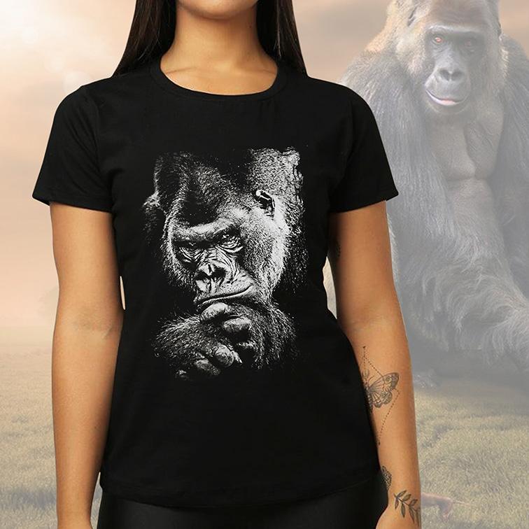 Camiseta Feminina Unissex Gorila African Animals (Preta) - EV