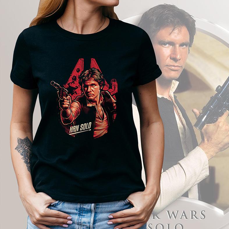 Camiseta Feminina Unissex Han Solo Harrison Ford: Star Wars (Preta) - EV