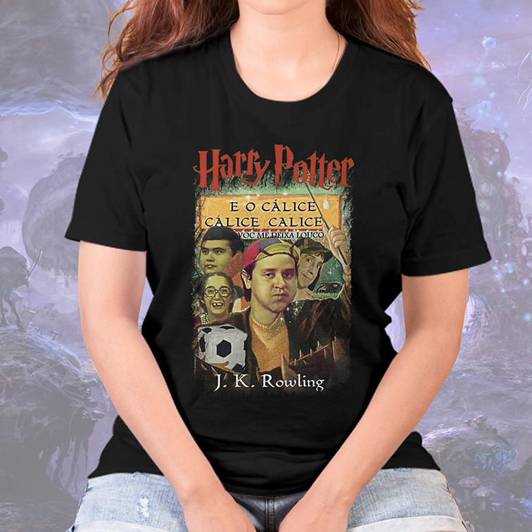 Camiseta Feminina Unissex Harry Potter E O Cálice Cálice Você Me Deixa Louco Chaves (Preta) - EV