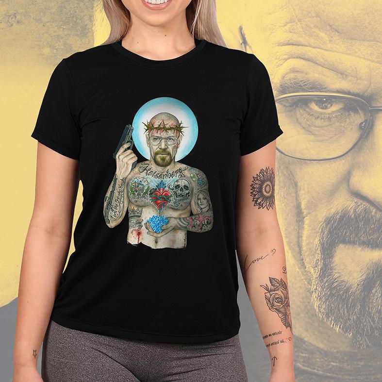 Camiseta Feminina Unissex Heisenberg Breaking Bad Sr Walter White Tattoo Cristal Cookin (Preta) - EV