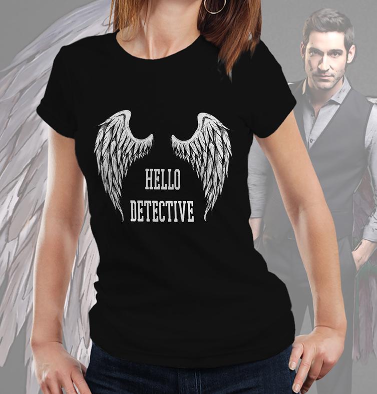Camiseta Feminina Unissex Hello Detective The Devil Lucifer Morningstar Netflix (Preta) - EV