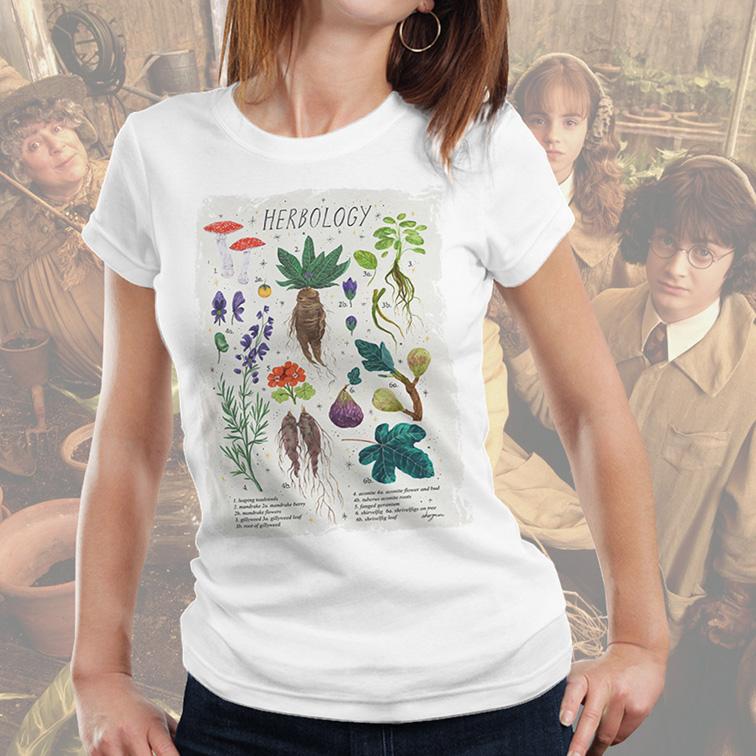 Camiseta Feminina Unissex Herbology Hogwarts School Of Witchcraft And Wizardry: Harry Potter (Branca) - EV