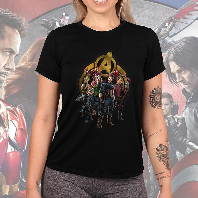 Camiseta Feminina Unissex Homem De Ferro Groot Rocket Viúva Negra Capitão América Homem Aranha: Avengers (Preta) - EV