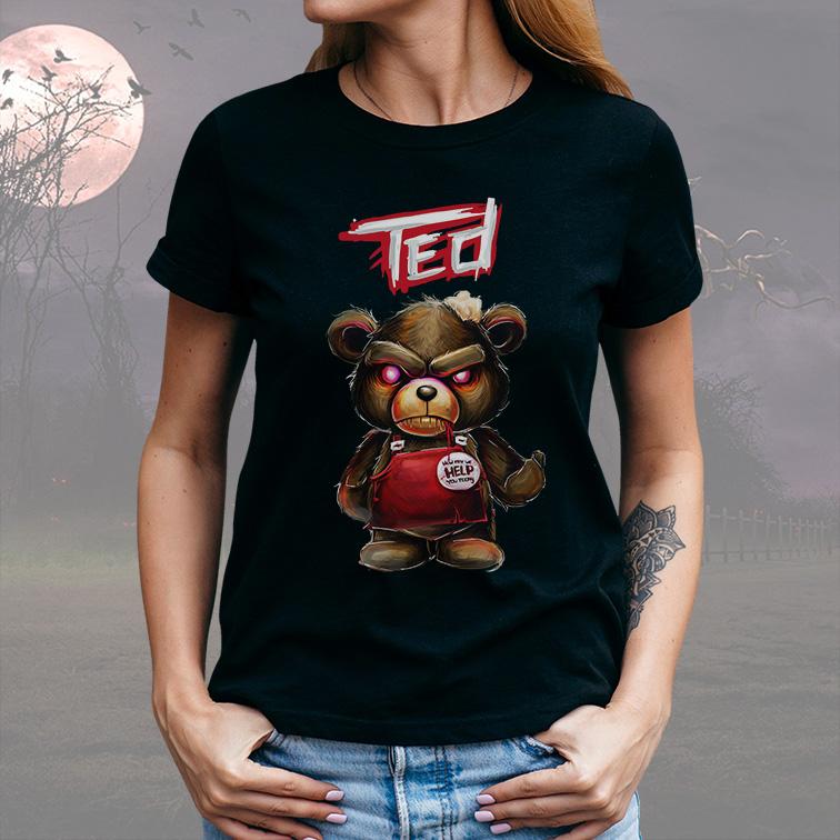 Camiseta Feminina Unissex How May We Help You Today Urso Ted (Preta) - EV