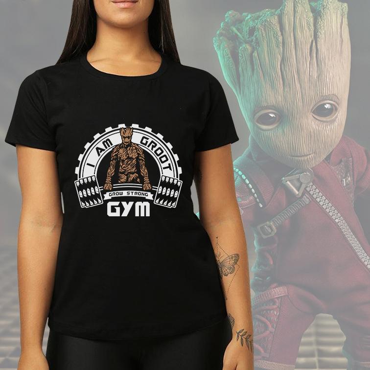 Camiseta Feminina Unissex I Am Groot GYM Grow Strong (Preta) - EV