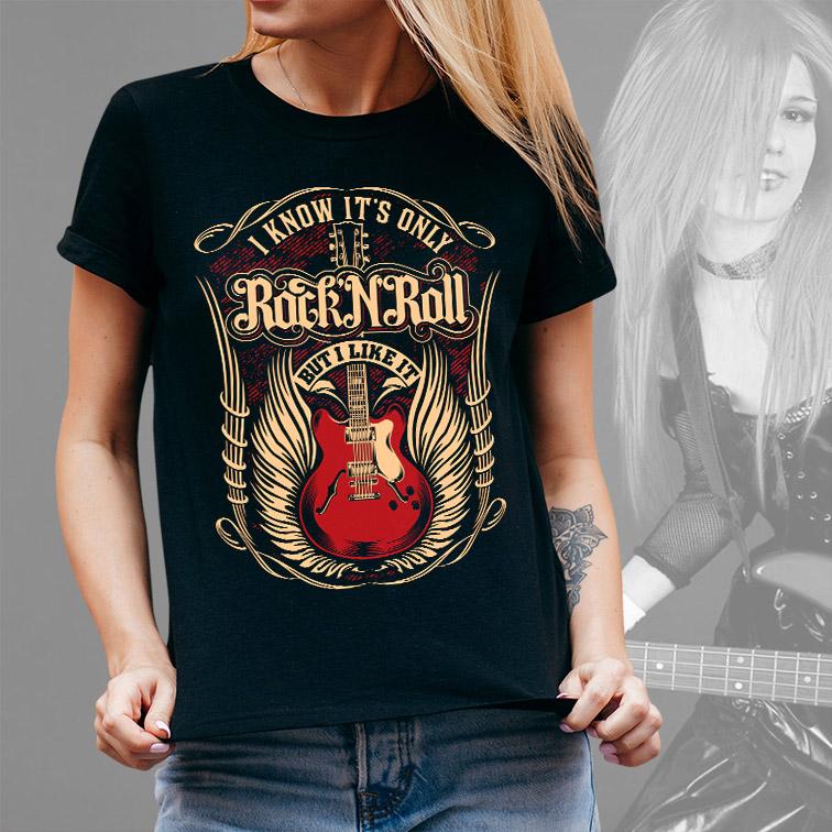 Camiseta Feminina Unissex I Know It's Only Rock'n Roll But I Like It Guitar Music (Preta) - EV