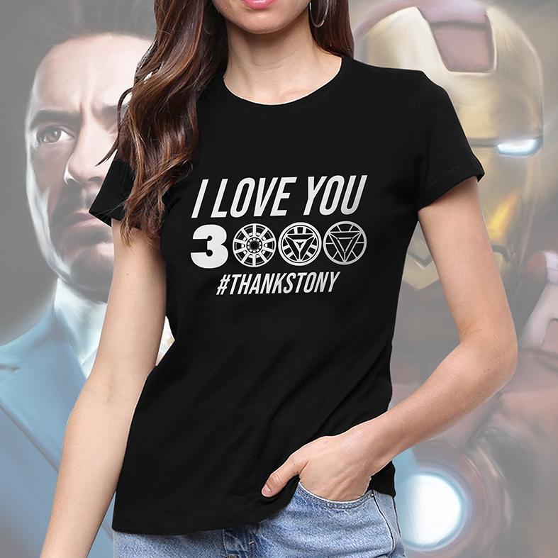 Camiseta Feminina Unissex I Love You 3000 #Thanks Tony Stark Iron Man Homem De Ferro Marvel (Preta) - EV