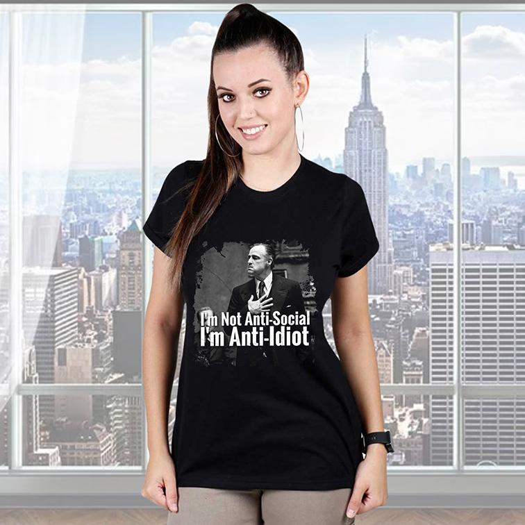 Camiseta Feminina Unissex I'm Not Anti-Social I'm Anti-Idiot (Preta) - EV