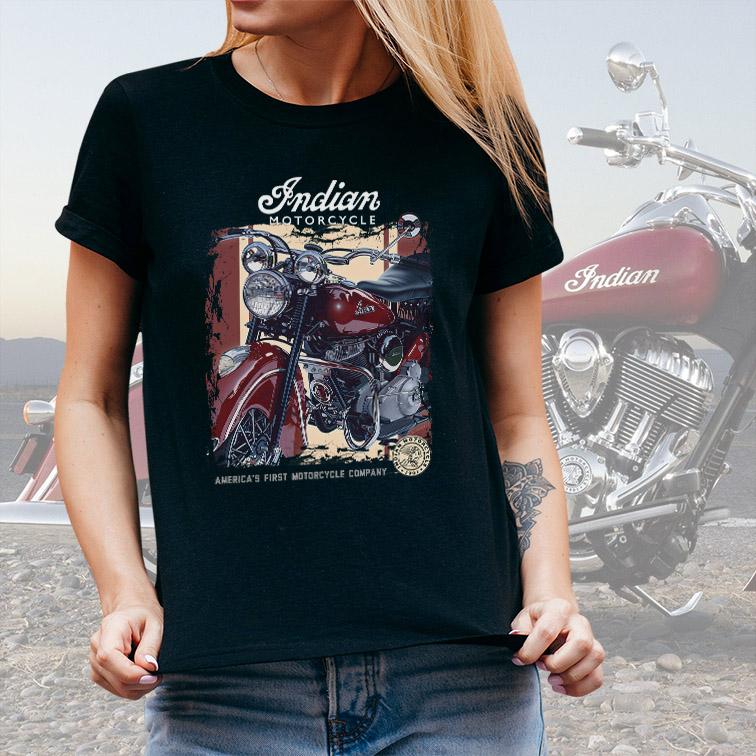 Camiseta Feminina Unissex Indian Motorcycle America's First Company (Preta) - EV