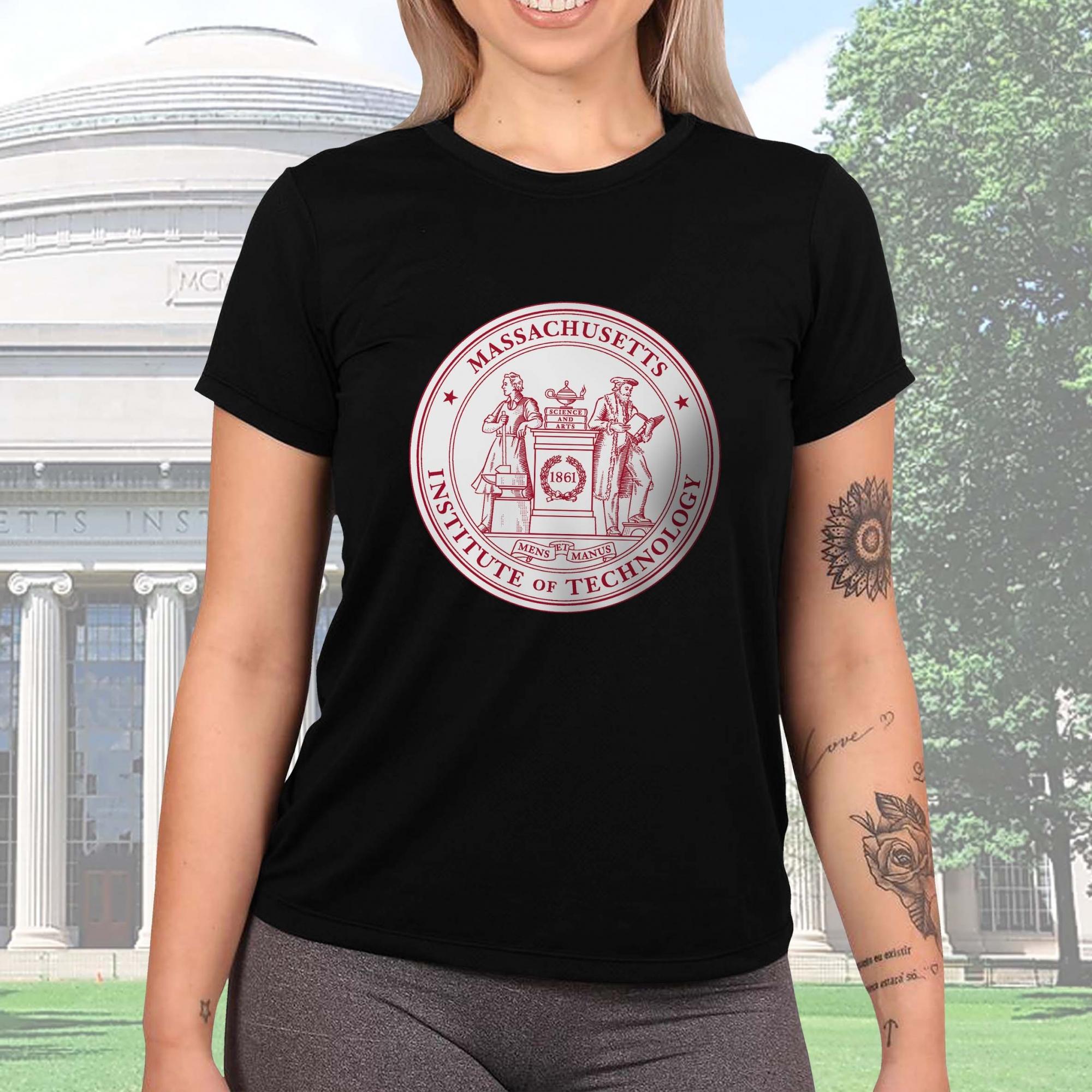 Camiseta Feminina Unissex Instituto de Tecnologia de Massachusetts Institute of Technology Cambridge (Preta) - EV