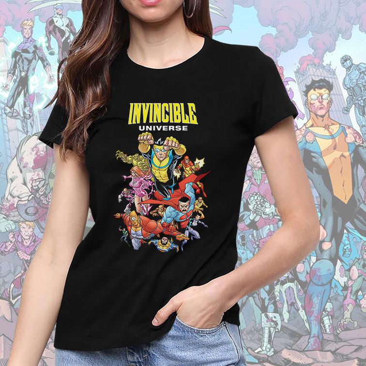 Camiseta Feminina Unissex Invincible Universe (Preta) - EV
