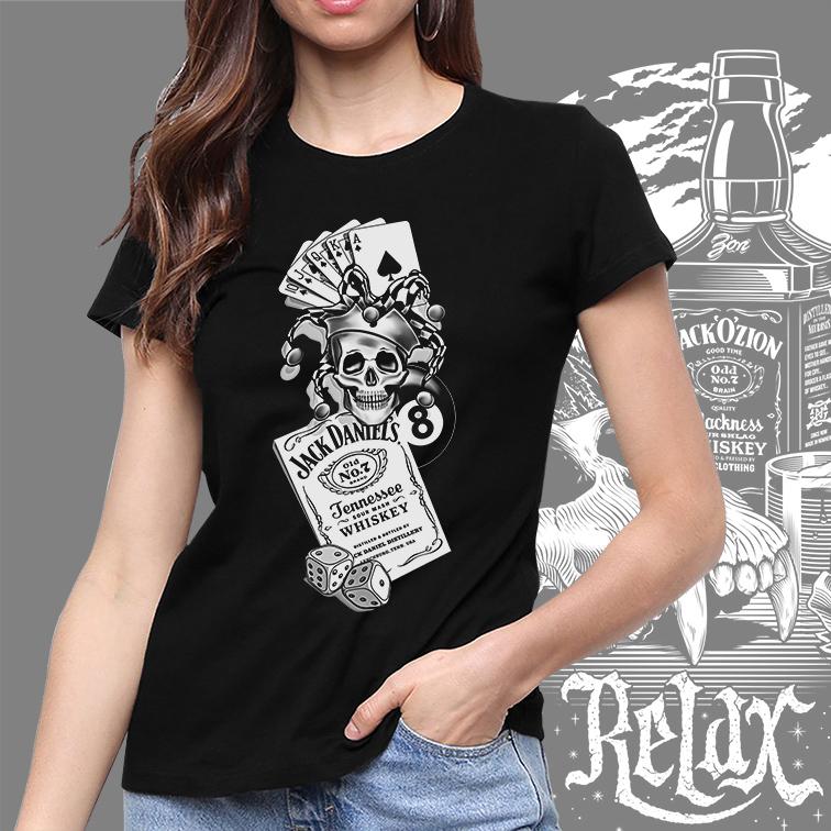 Camiseta Feminina Unissex Jack Daniel's Whiskey Skull Joker Ball 8 (Preta) - EV
