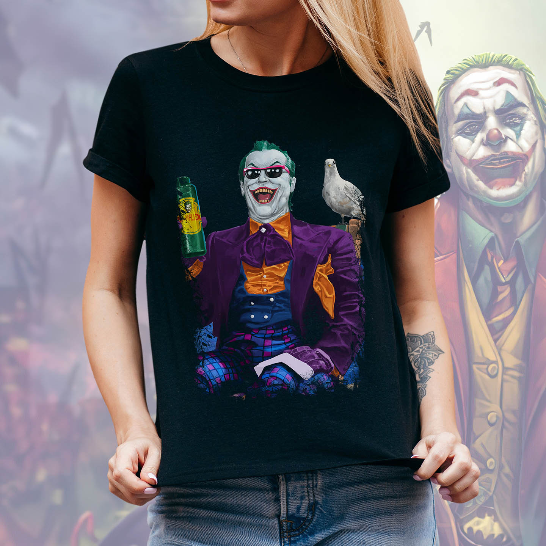 Camiseta Feminina Unissex Jack Nicholson's Joker is About the Best One Out There: Joker Coringa (Preta) - EV