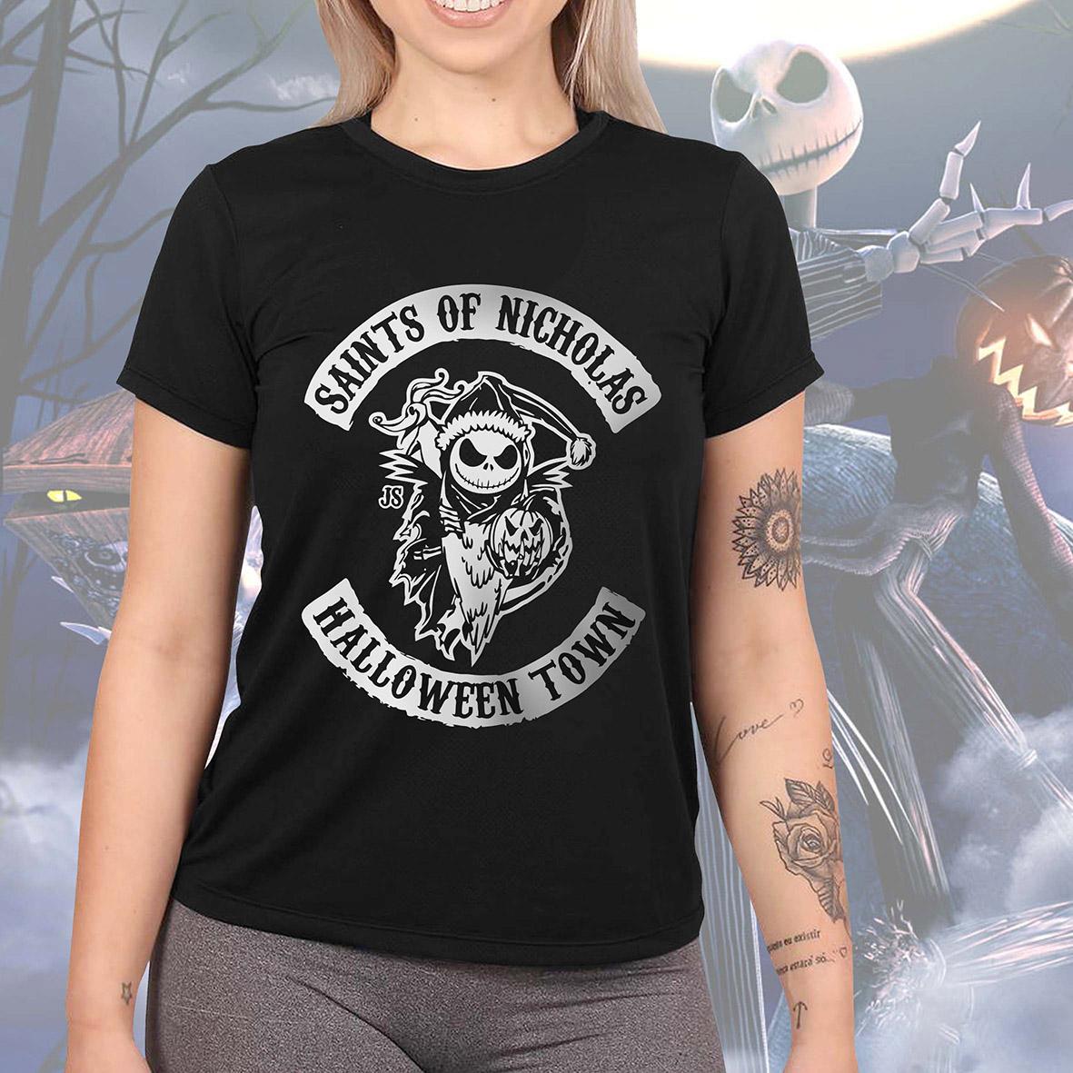 Camiseta Feminina Unissex Jack Skellington Tim Burton Saints Of Nicholas Halloween Town Sons Of Anarchy (Preta) - EV