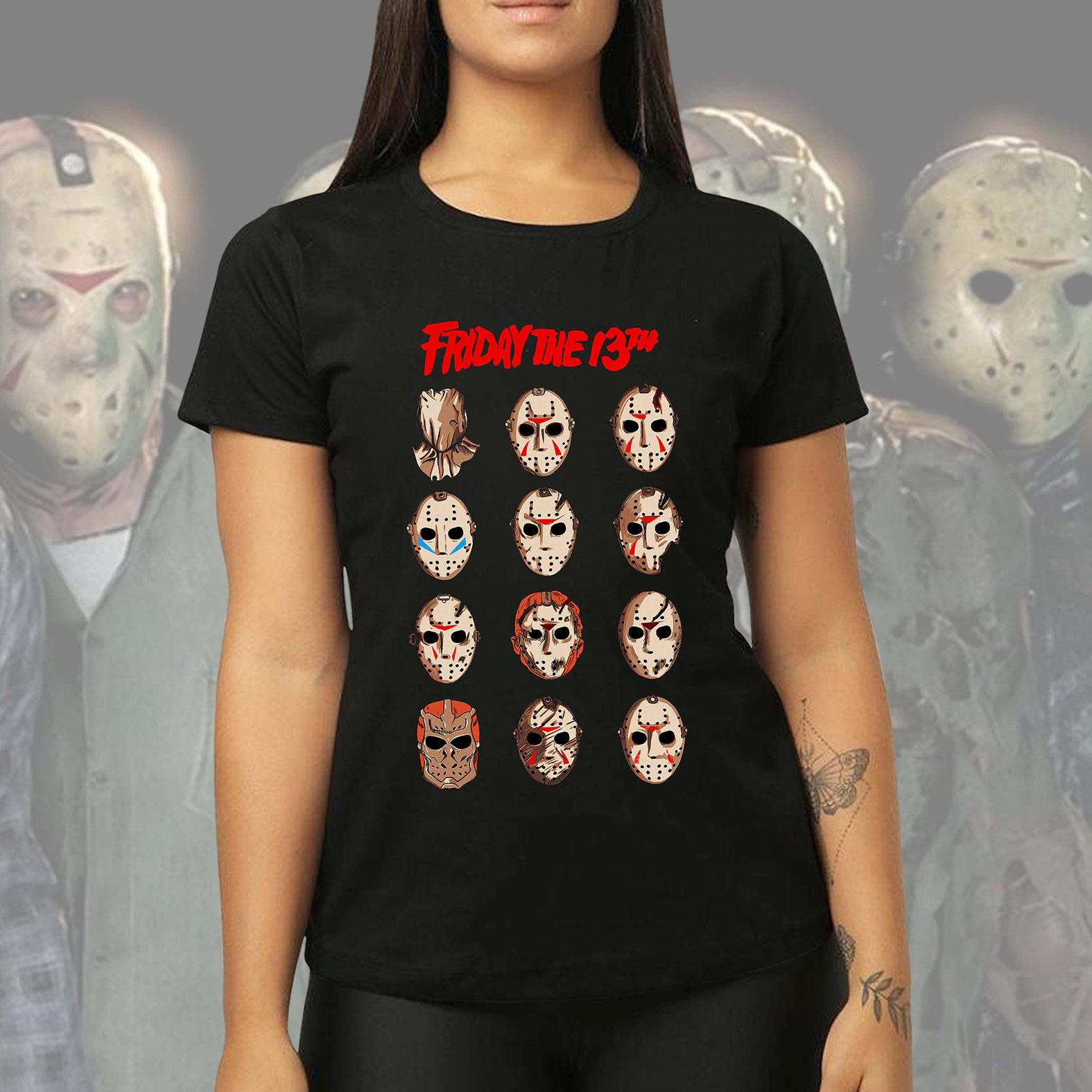 Camiseta Feminina Unissex Jason Voorhees Friday The 13th Sexta Feira 13 Terror Horror Serial Killer (Preta) - EV