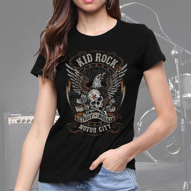 Camiseta Feminina Unissex Kid Rock Motor City Detroit Michigan (Preta) - EV