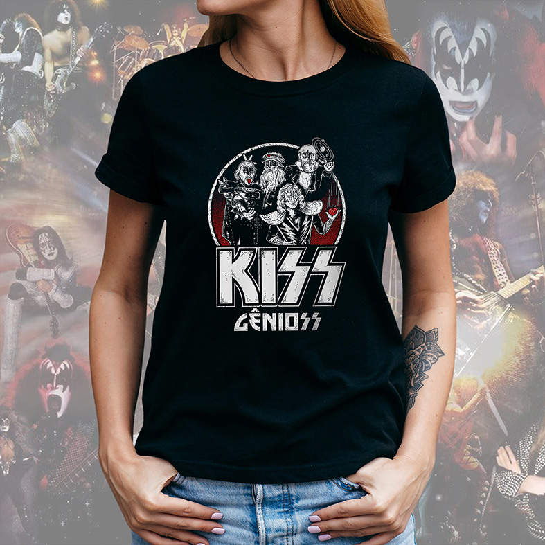 Camiseta Feminina Unissex Kiss Gênioss Humor Ilustração Hard Rock Gênios (Preta) - EV