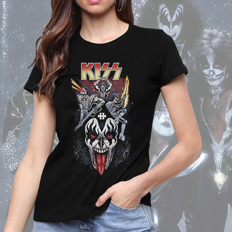 Camiseta Feminina Unissex Kiss Rock And Roll Band Poster (Preta) - EV