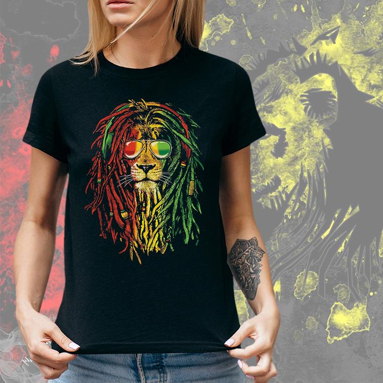 Camiseta Feminina Unissex Leão De Jah Reggae Music (Preta) - EV
