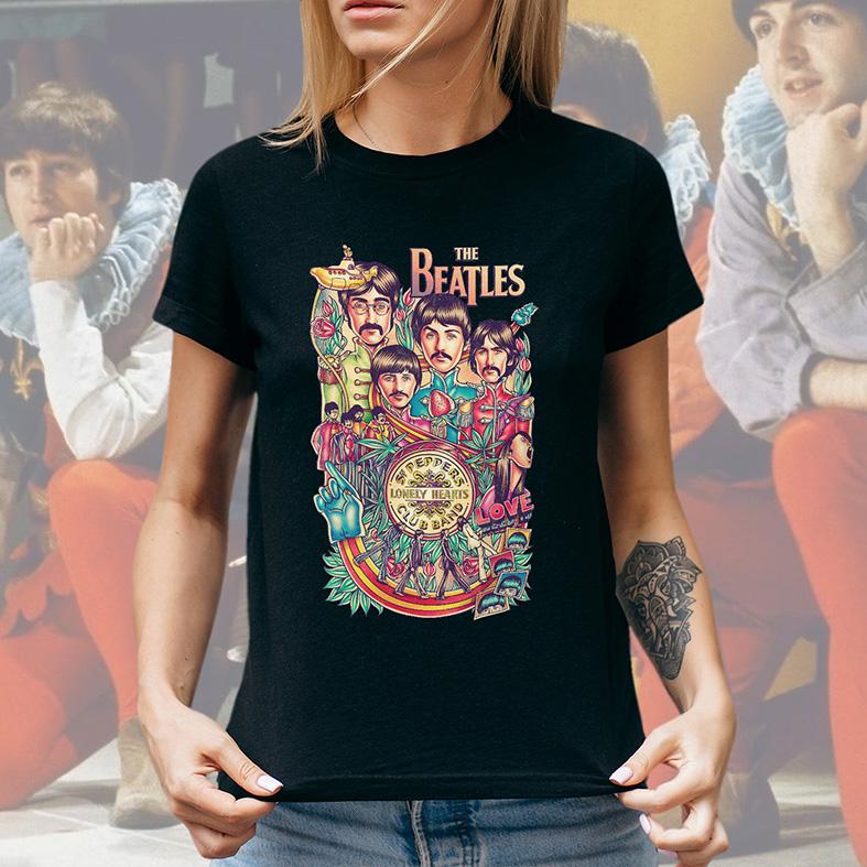 Camiseta Feminina Unissex Legends The Beatles Peppers Lonely Hearts Club Band Love (Preta) - EV
