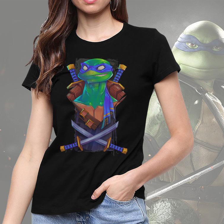 Camiseta Feminina Unissex Leonardo Teenage Mutant Ninja Turtles As Tartarugas Ninjas (Preta) - EV