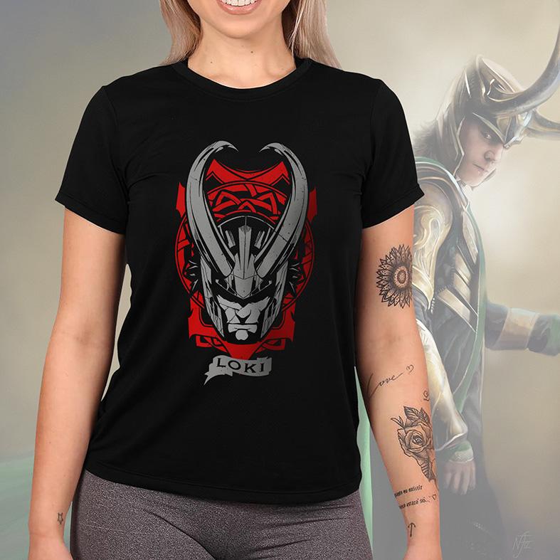 Camiseta Feminina Unissex Loki Helmet Darkness Capacete Escuridão Marvel (Preta) - EV