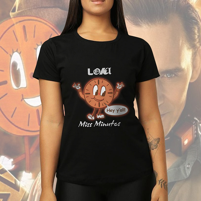Camiseta Feminina Unissex Loki Hey Y'all Miss Minutes Marvel Disney+ (Preta) - EV