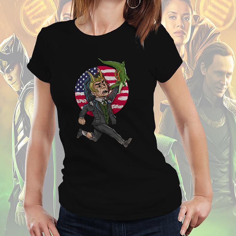 Camiseta Feminina Unissex Loki Presidente EUA Jacaré Deus Da Trapaça Marvel Disney+ (Preta) - EV